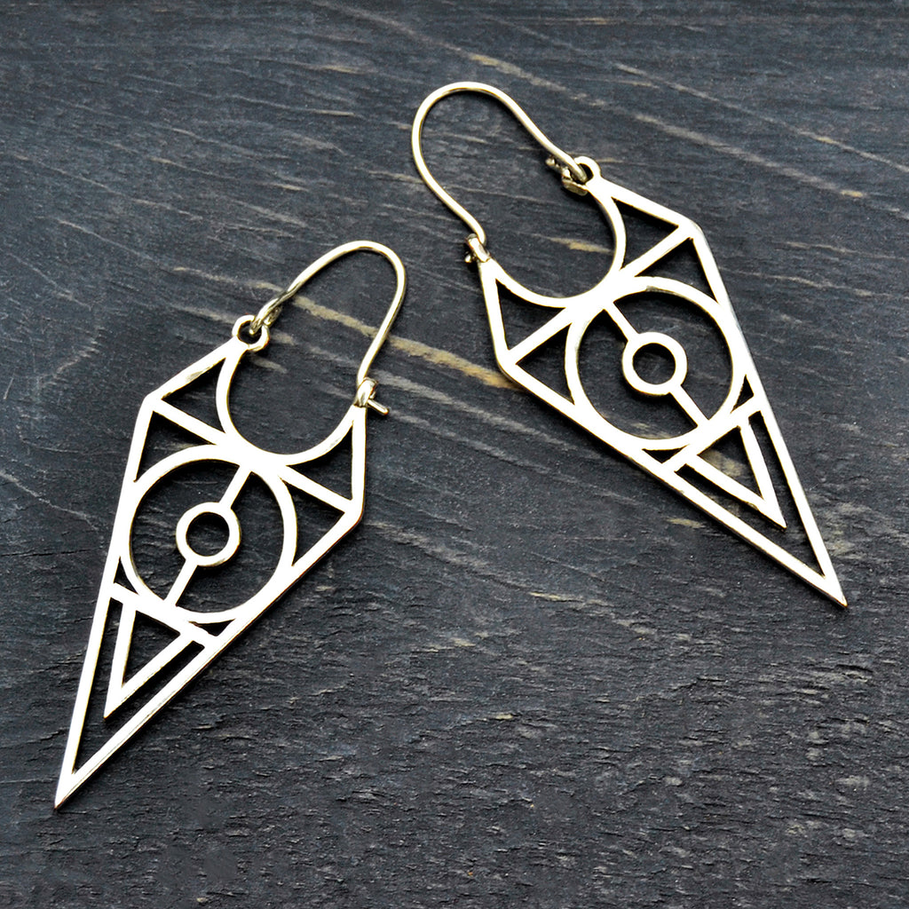 Silver geometric earrings