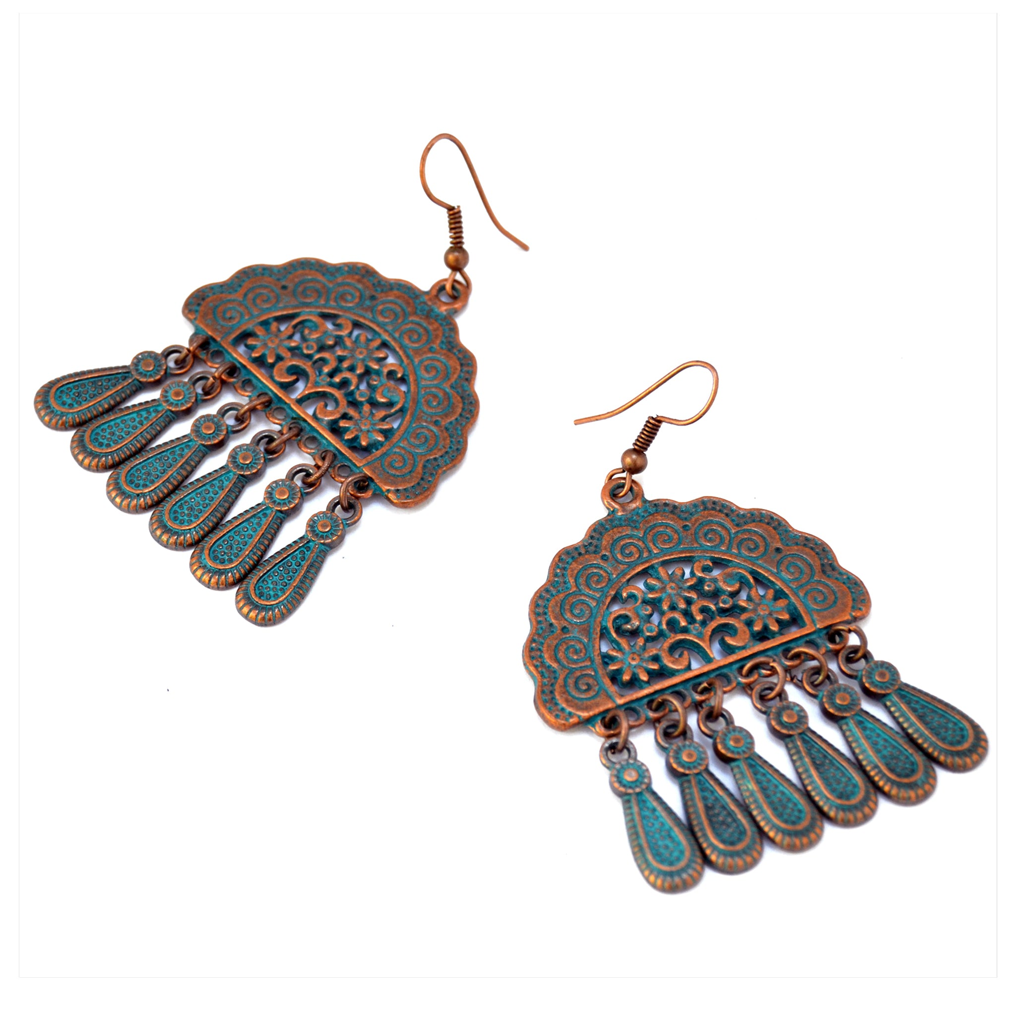 Blue copper earrings