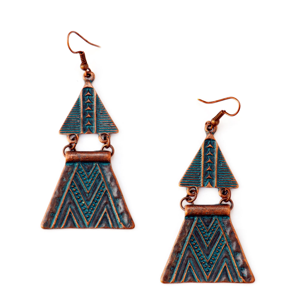 Green copper triangle earrings