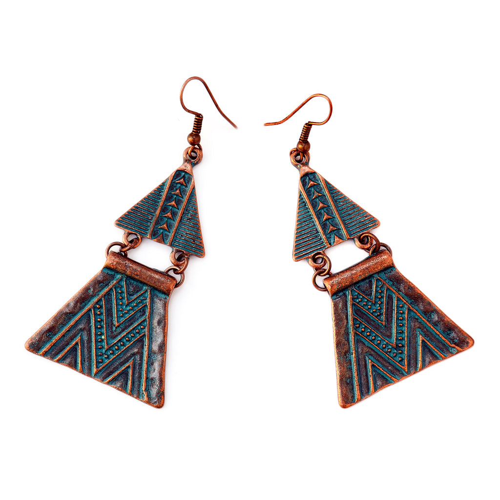 Aztec earrings with green patina