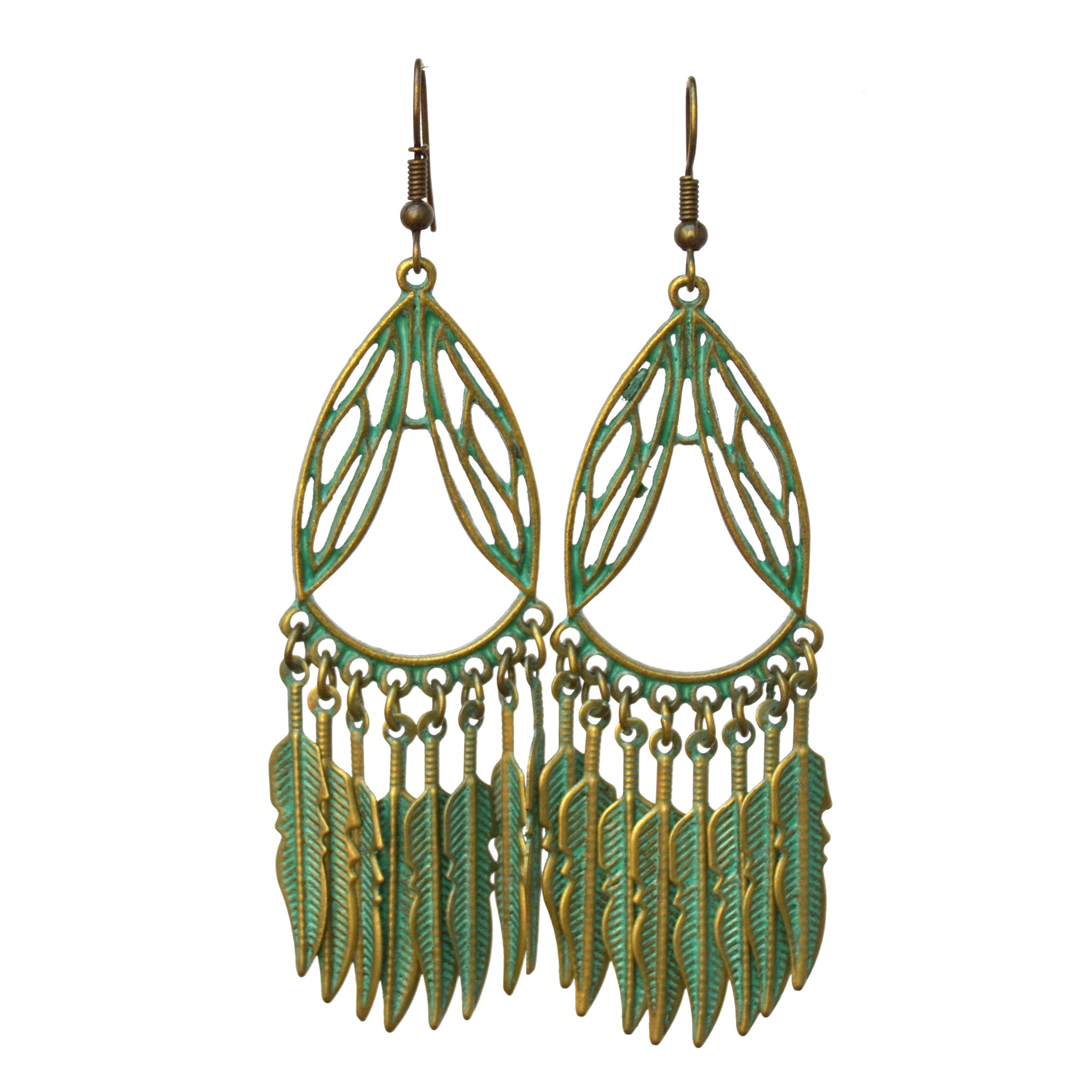 Green copper dangly earrings