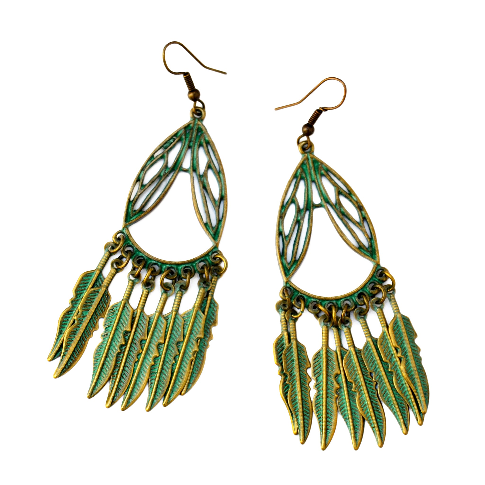 Verdigris tassel earrings