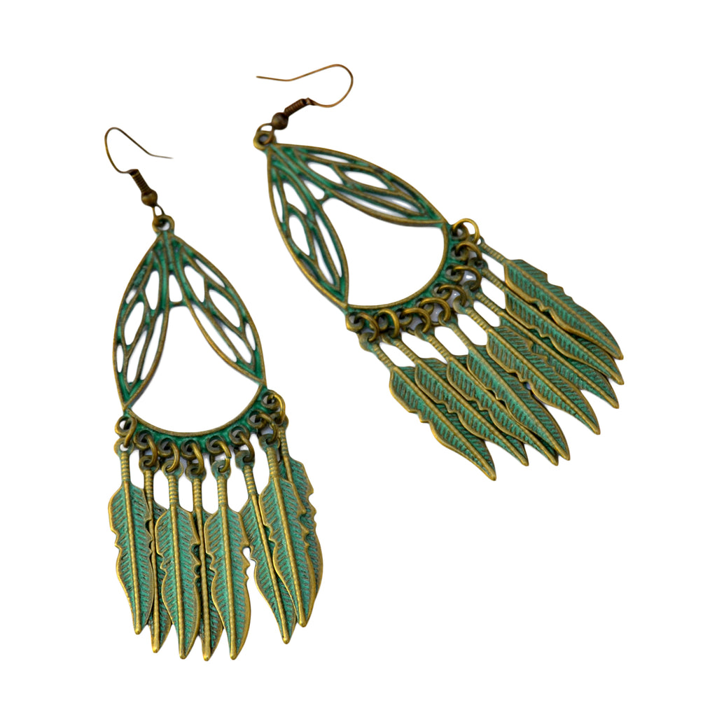 Tribal feather copper earrings