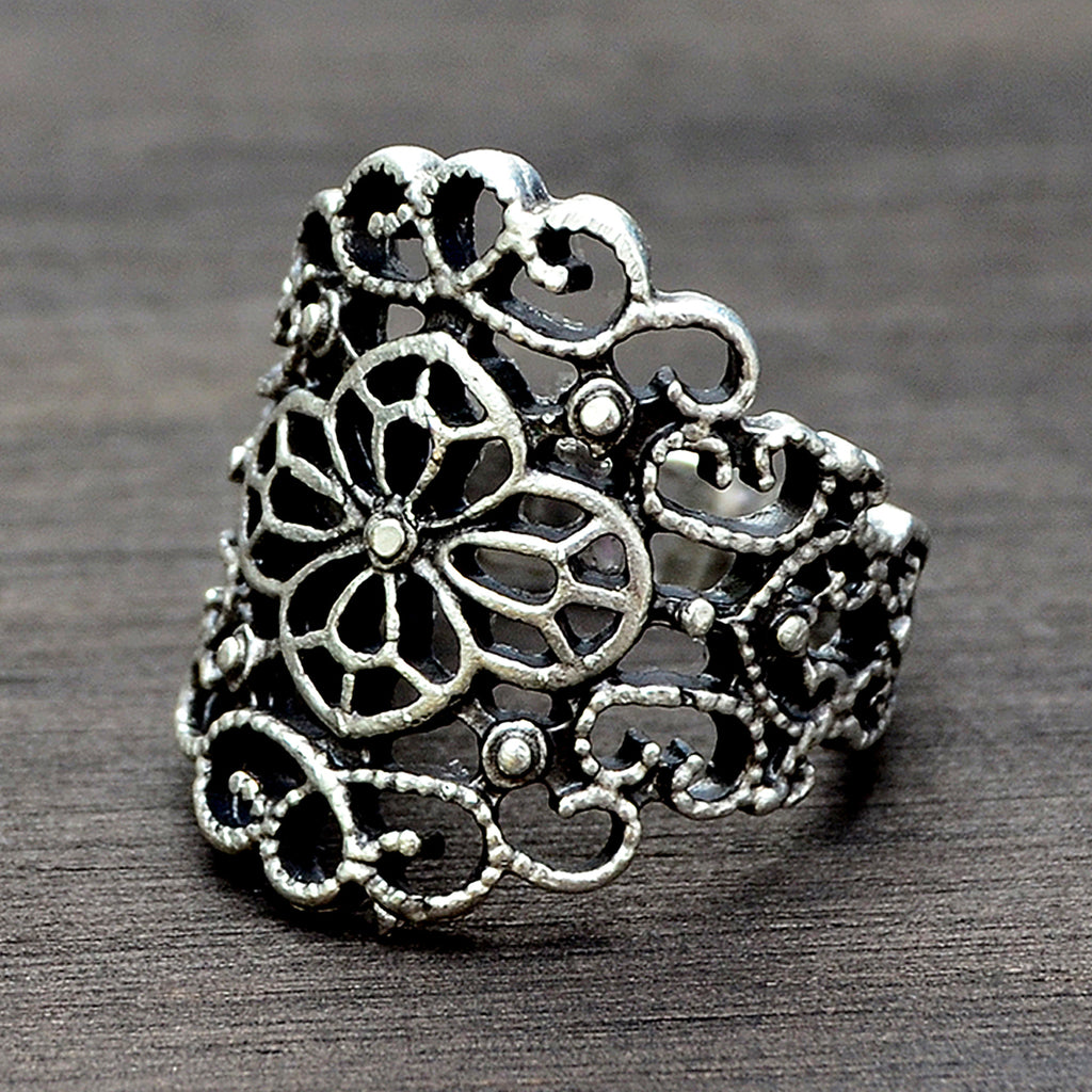 Silver victorian ring