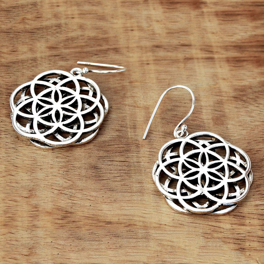 Flower of life hoop earrings