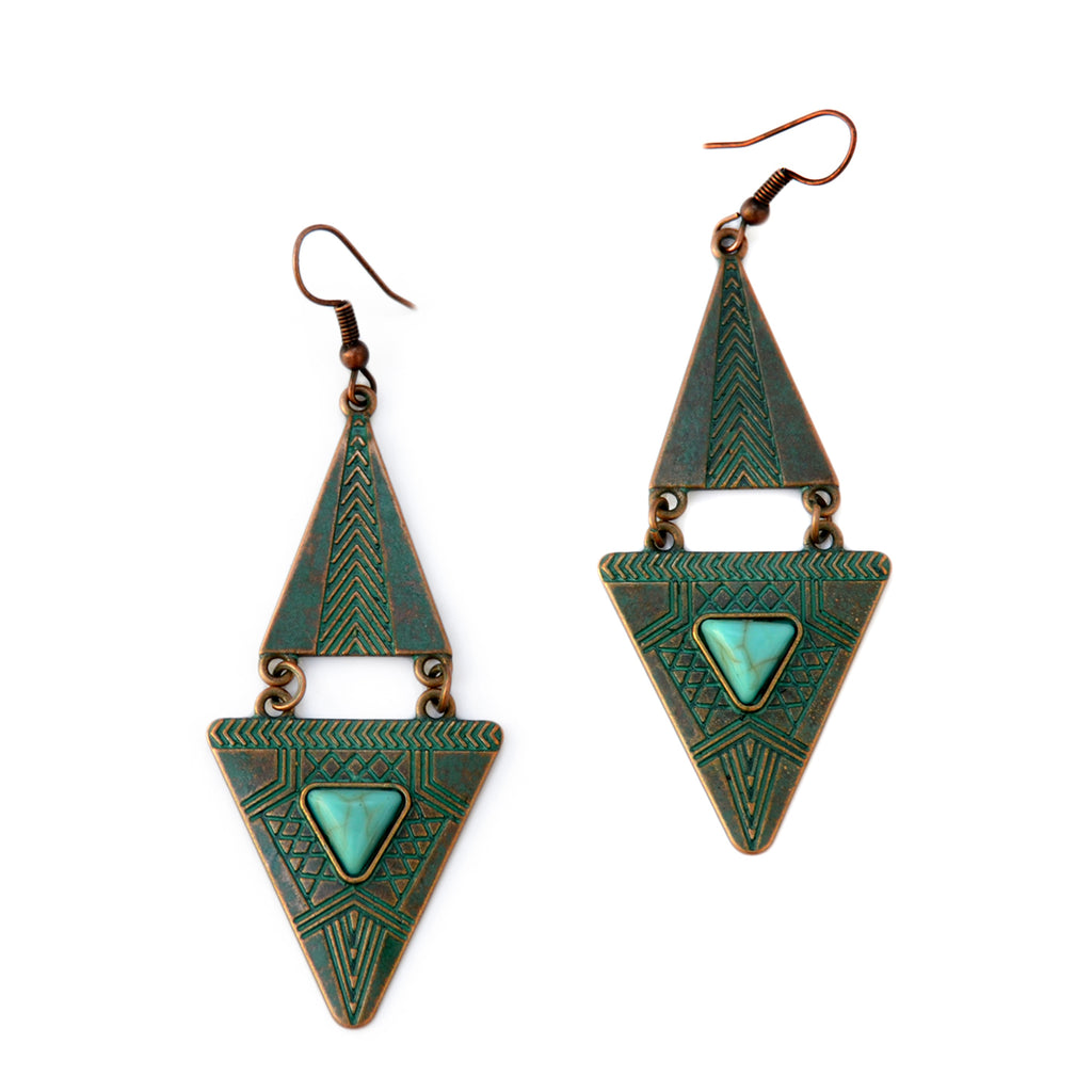 Verdigris tribangle earrings