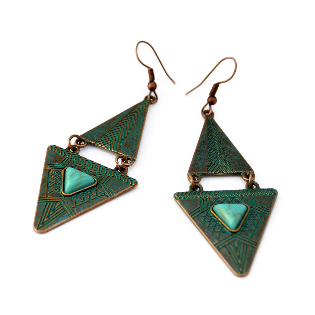 Green cooper triangle earrings
