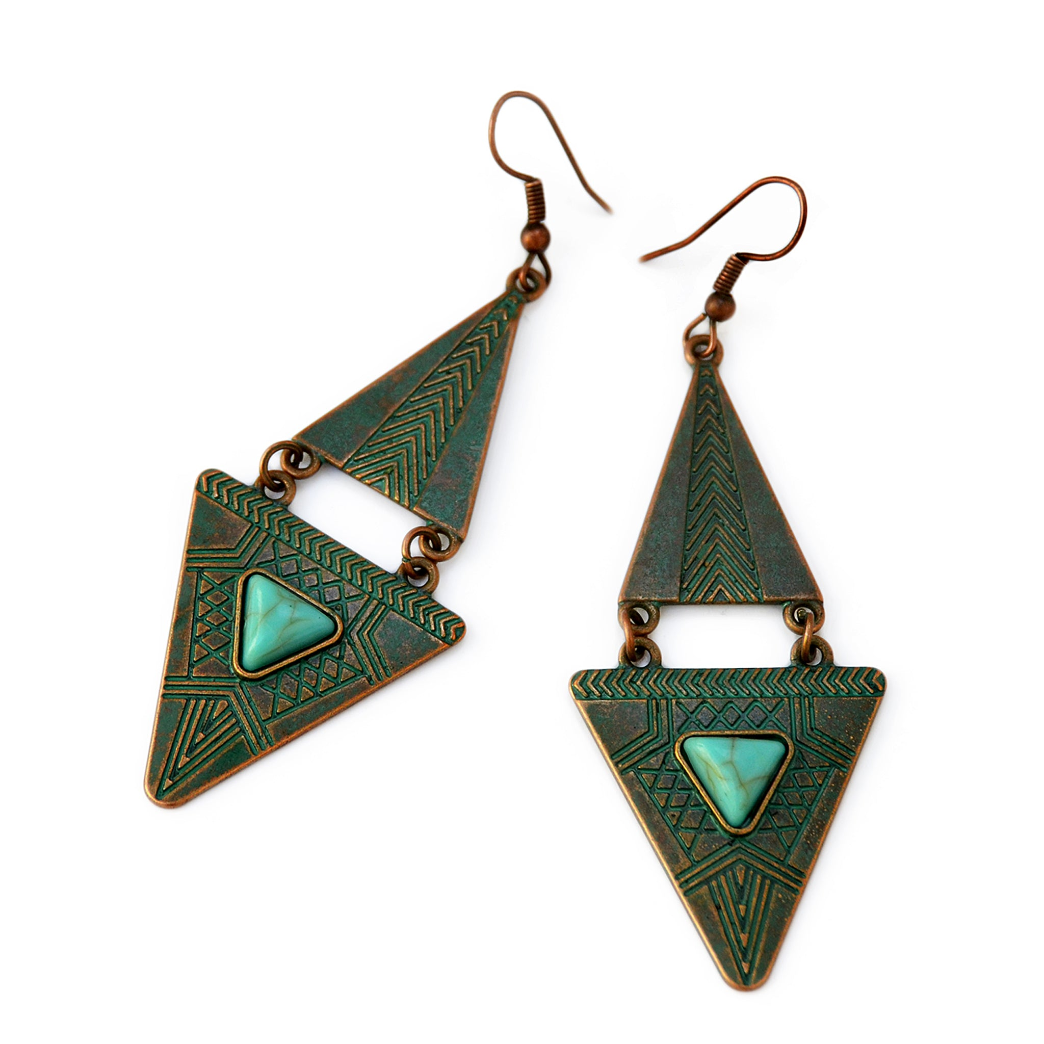 Green cooper tribal earrings