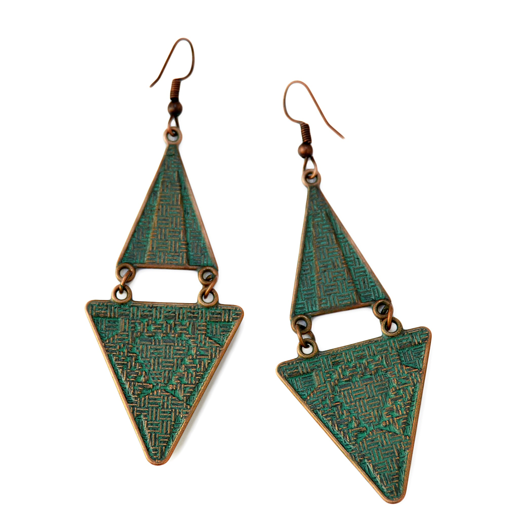 Verdigris patina triangle earrings