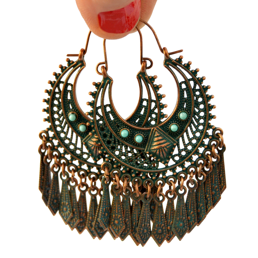 Verdigris tribal hoop earrings
