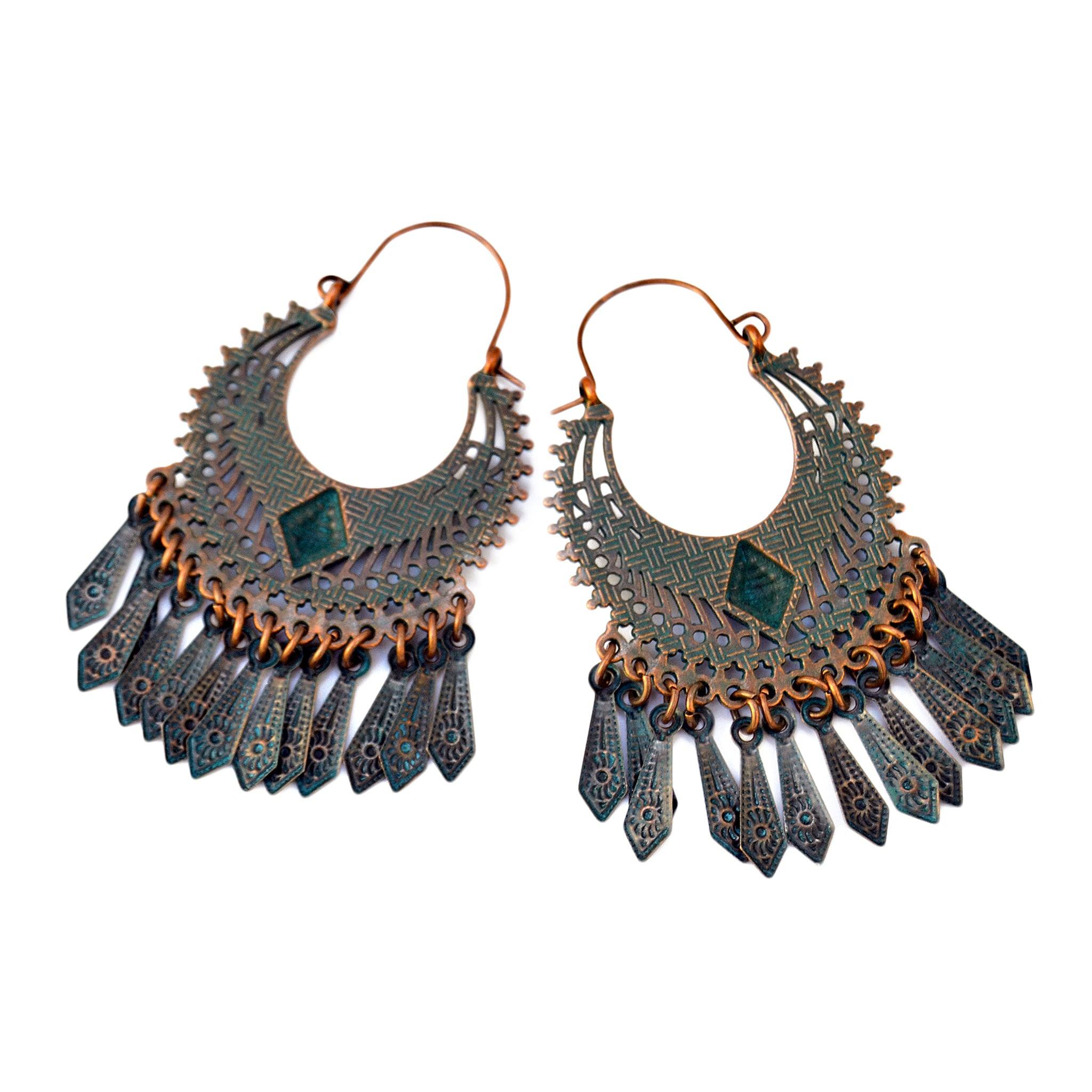 Blue copper ethnic earrings