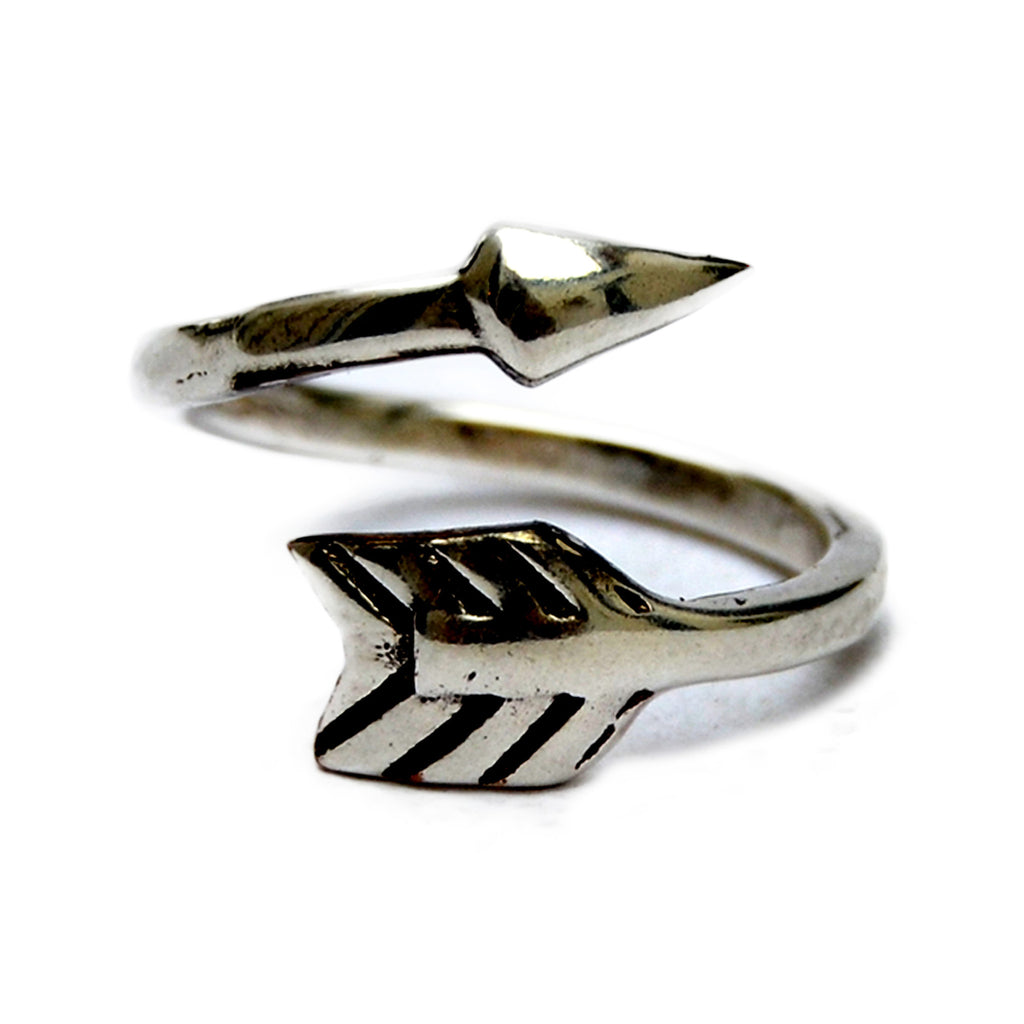 Silver boho arrow ring