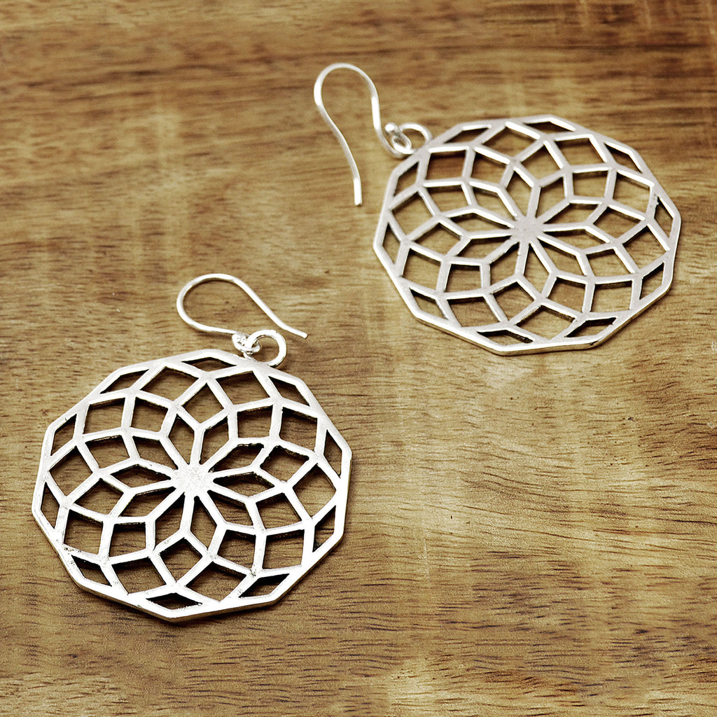 Mandala hoop earrings