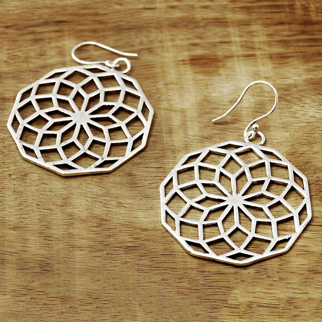 Silver mandala earrings