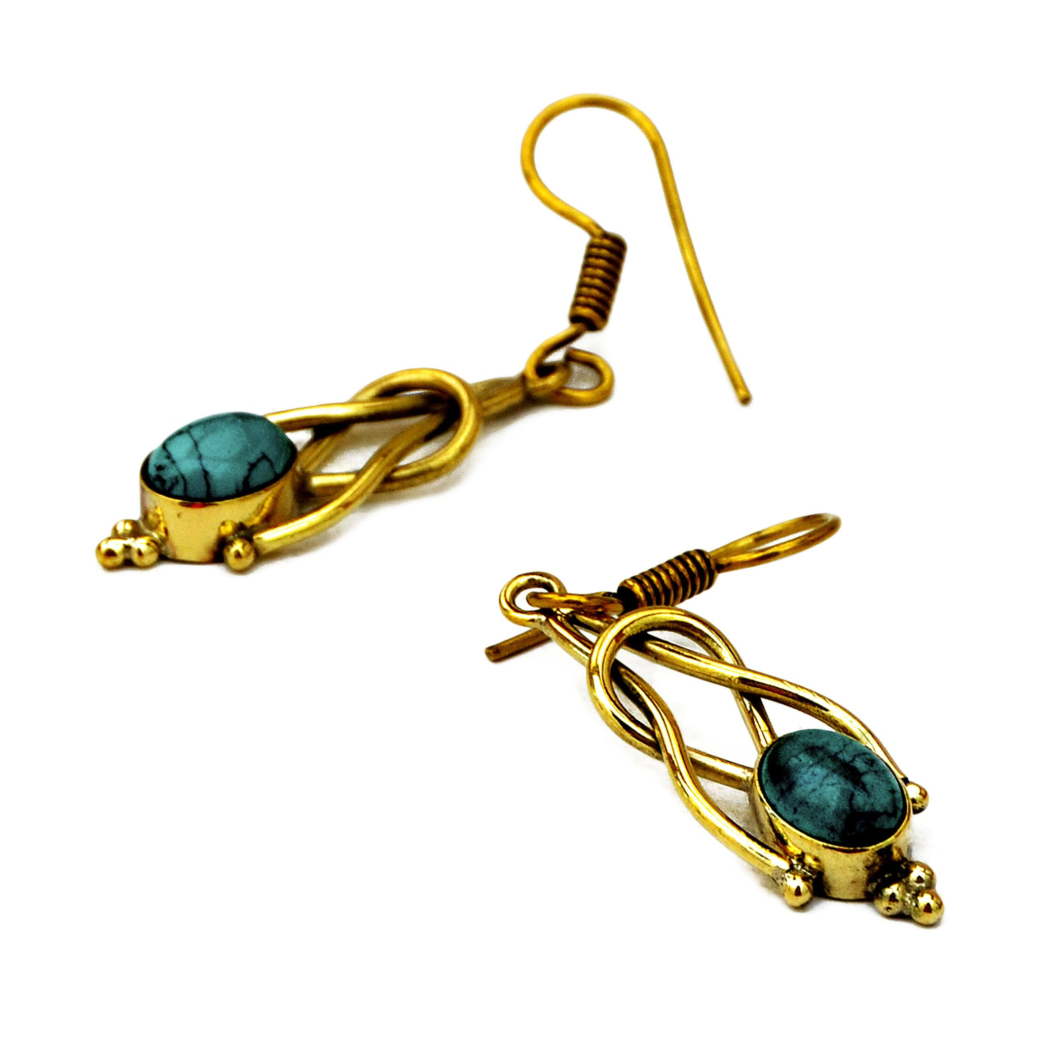 turquoise  earrings gold