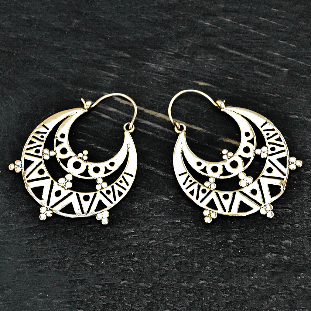 Aztec hoop earrings