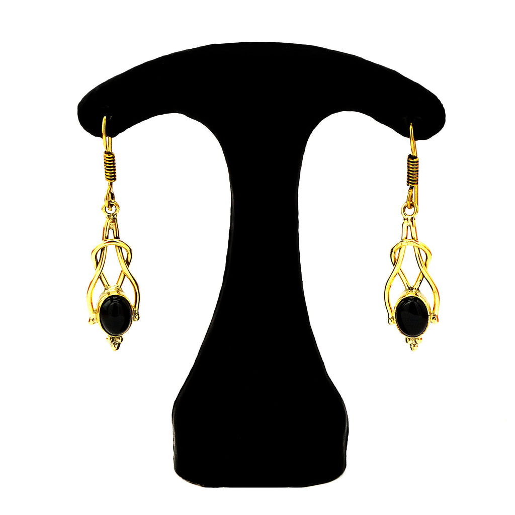 Drop earrings with gemstones
