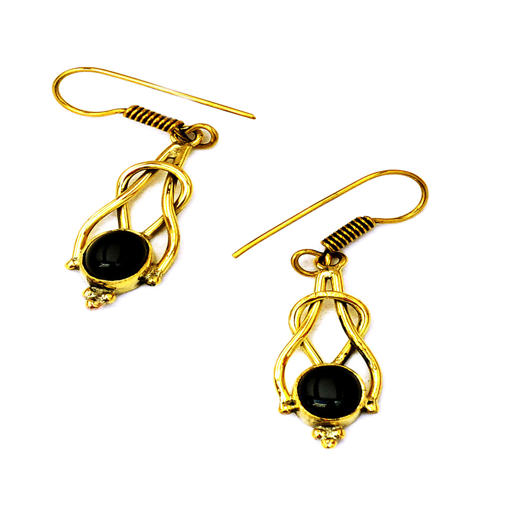 Brass drop earrings with stones