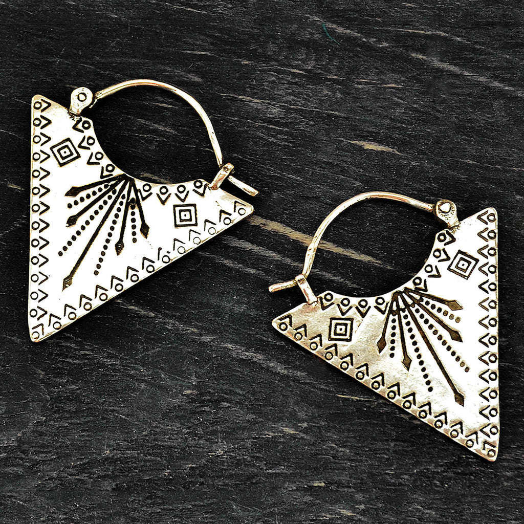 Silver gemometric earrings