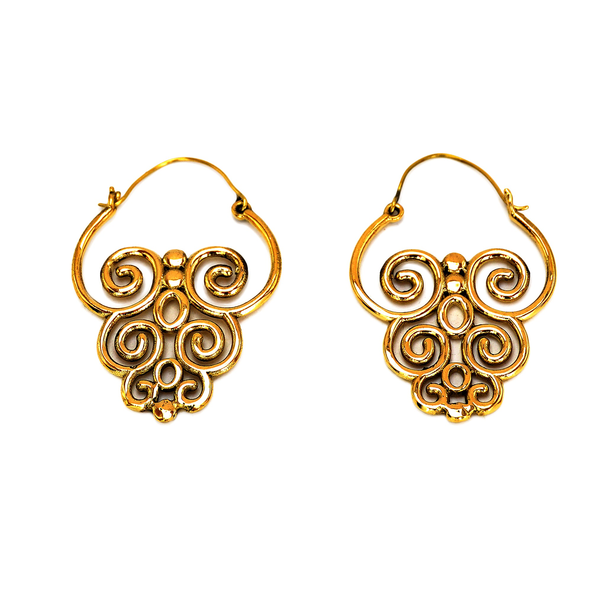 Ethnic brass earrings