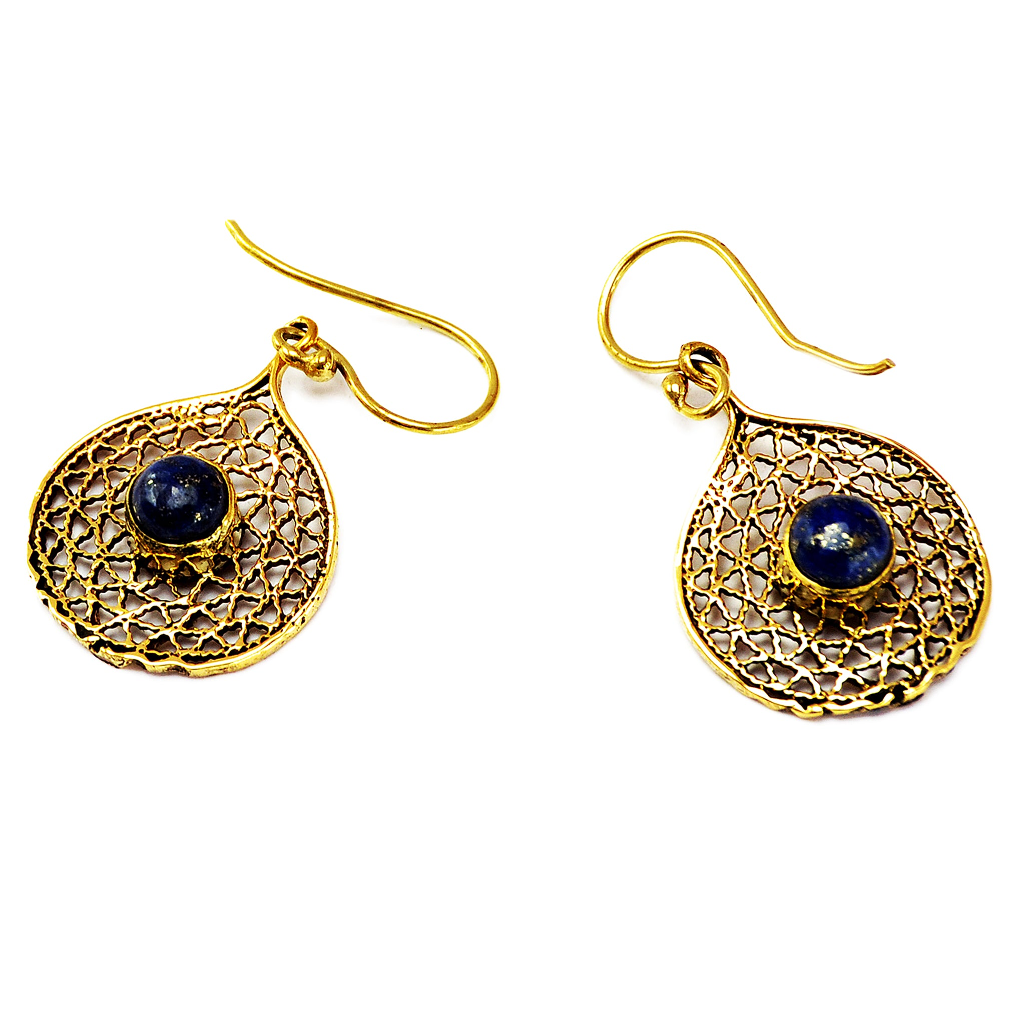Ornate Filigree Earrings with Lapis Stone