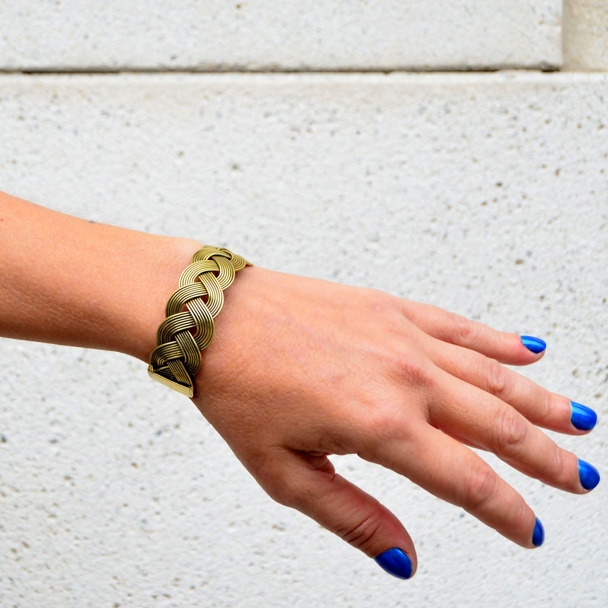 Gold brass tribal ethnic bracelet