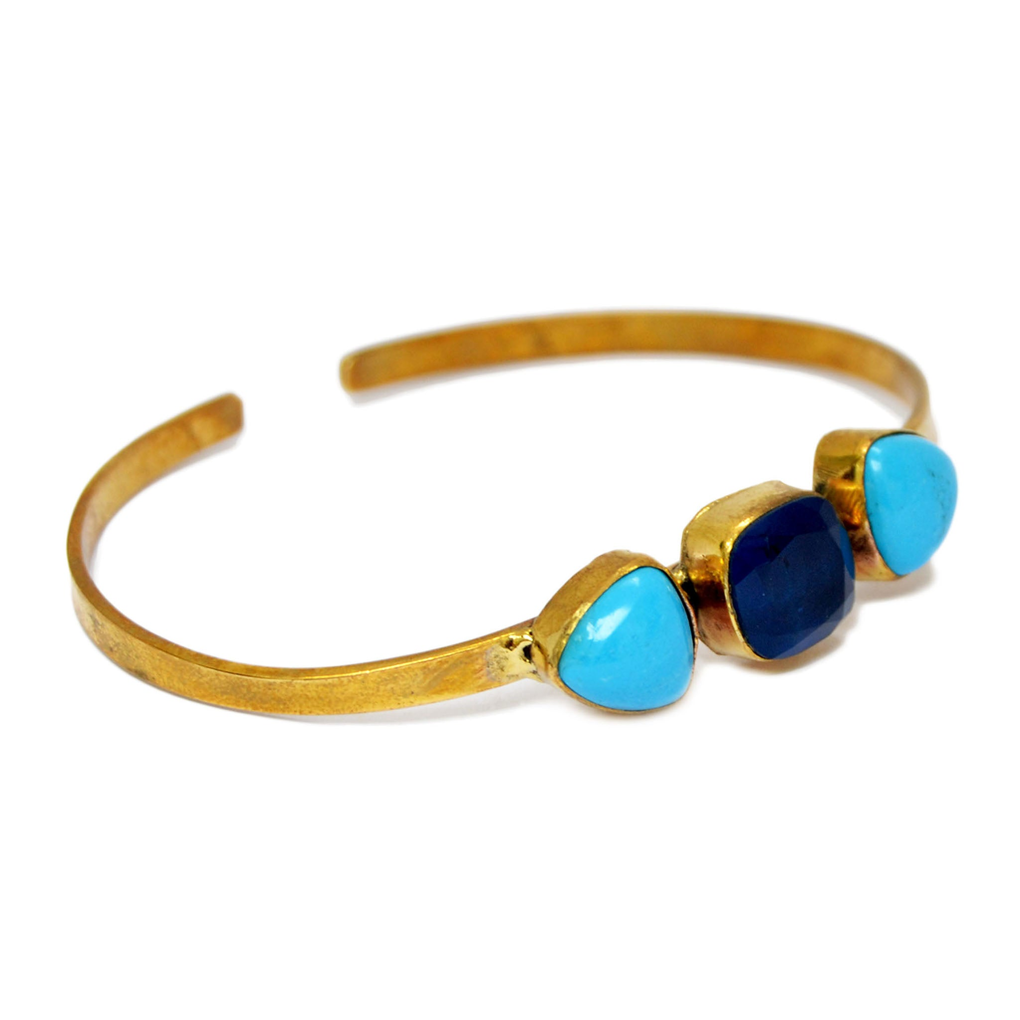 Brass gold bracelet with blue gemstones
