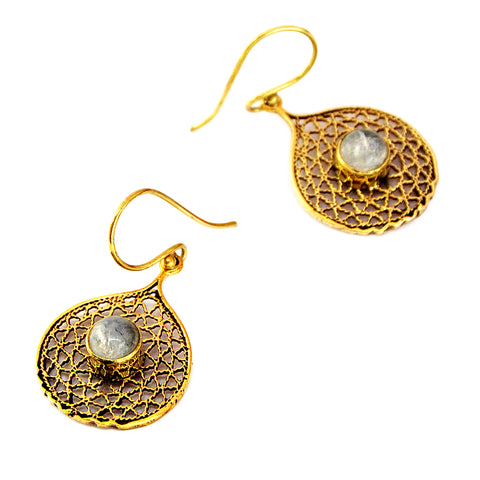 Ethnic Filigree Earrings with Moonstone