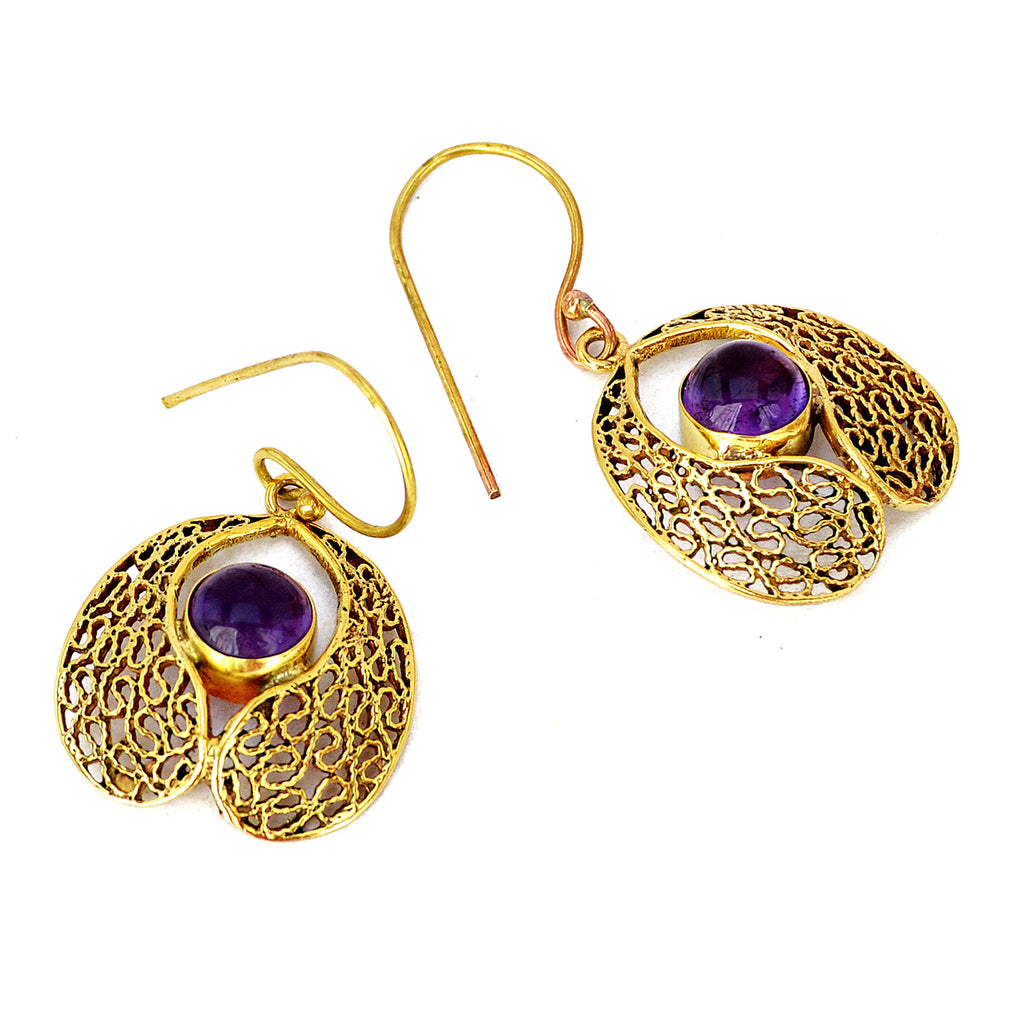 Gold filigree earrings with amethyst