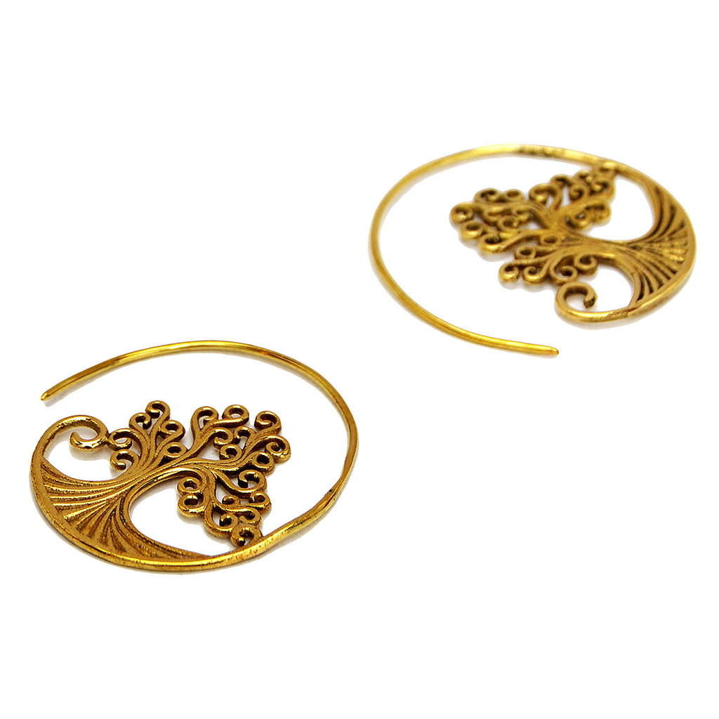 Tree Of Life Gold Earrings