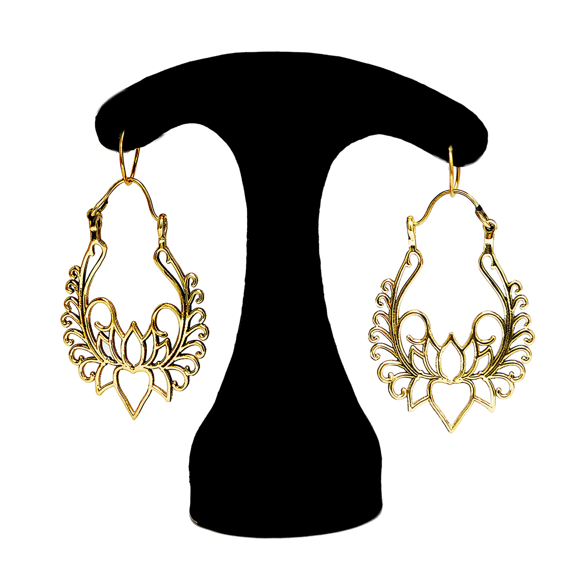 Indian lotus earrings brass