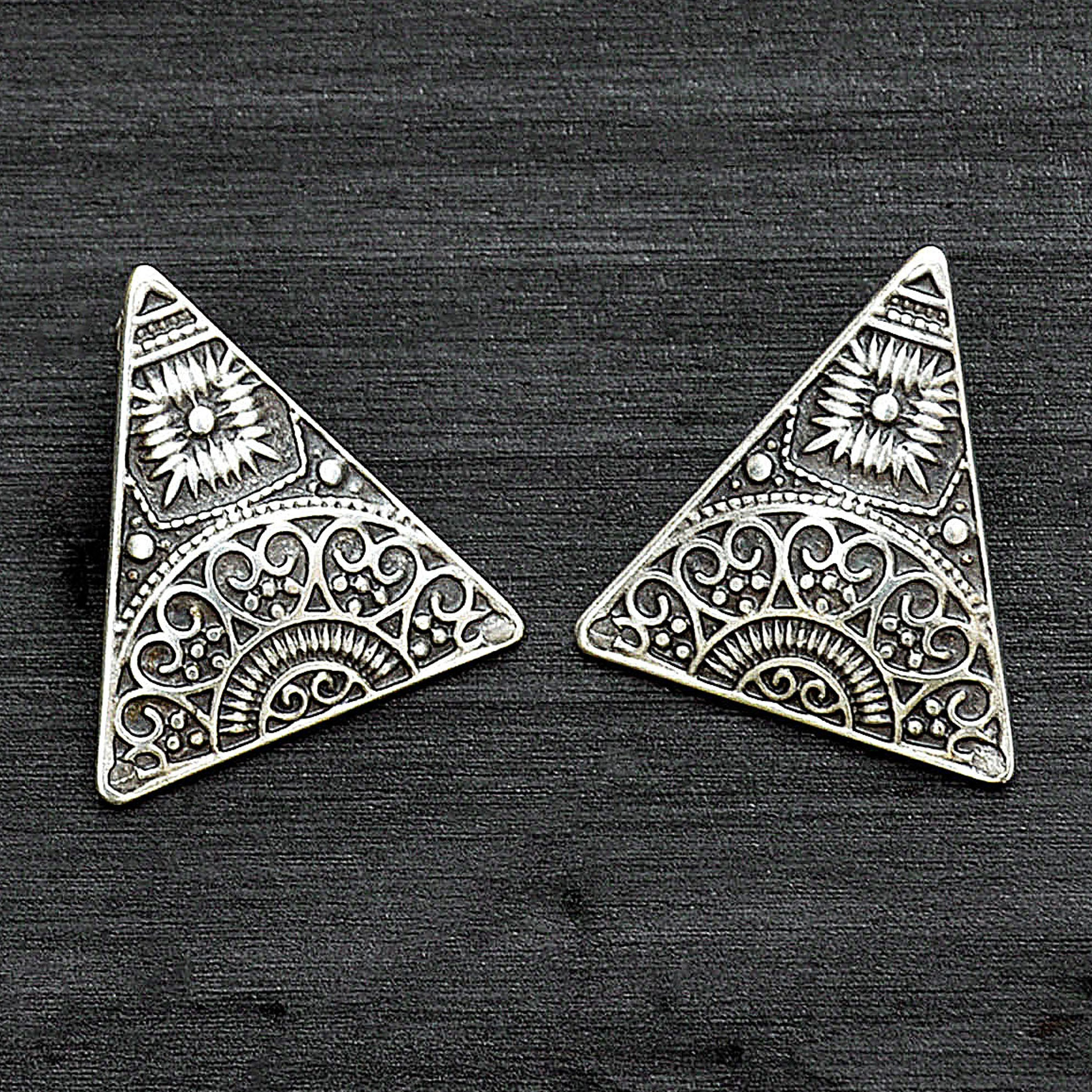 Silver aztec triangle earrings