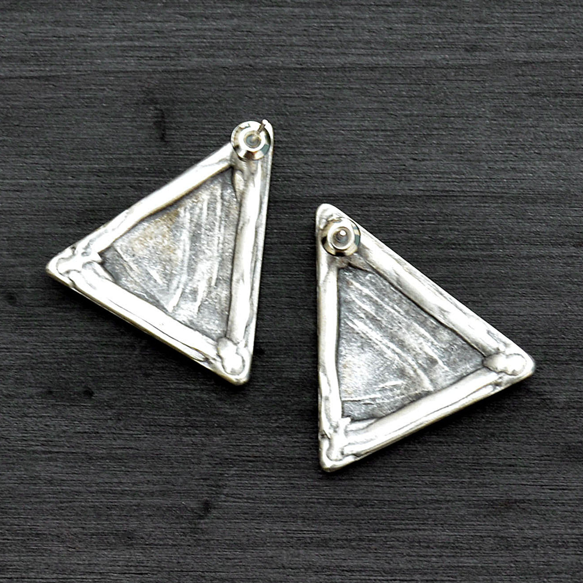 Silver geometric stud earrings