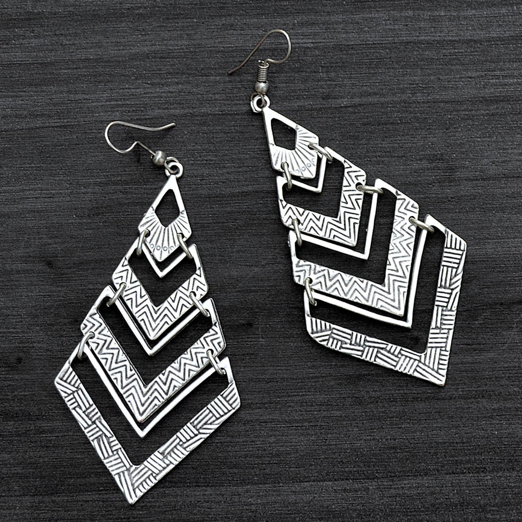 Silver long triangle earrings