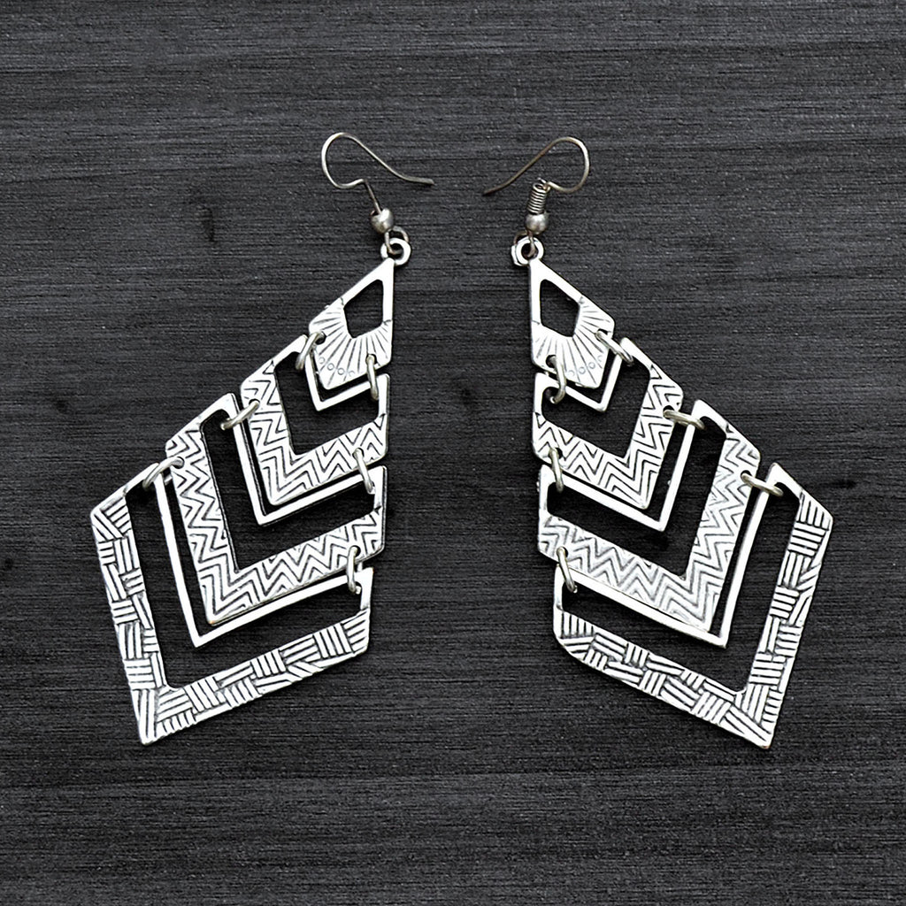 Cascading triangle earrings