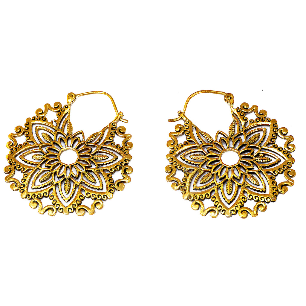 Indian flower earrings brass