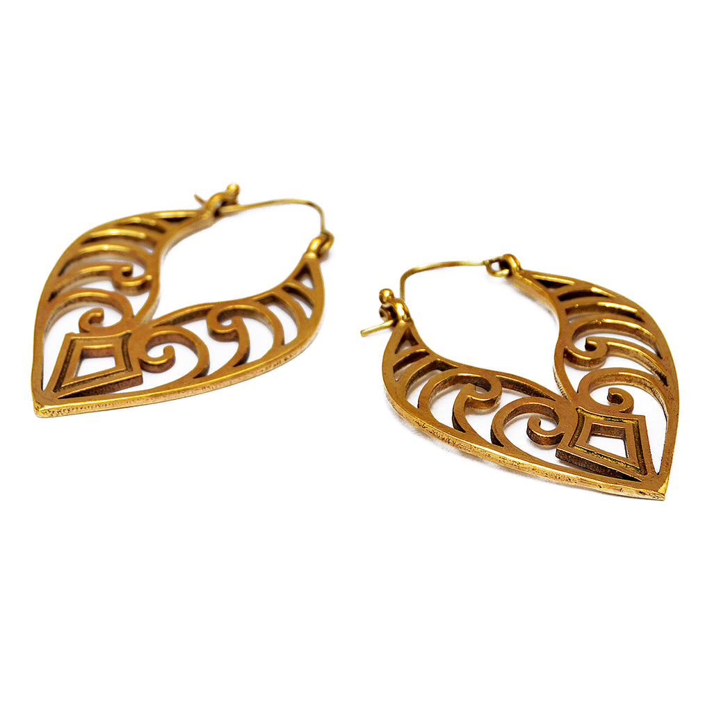 Brass maori earrings