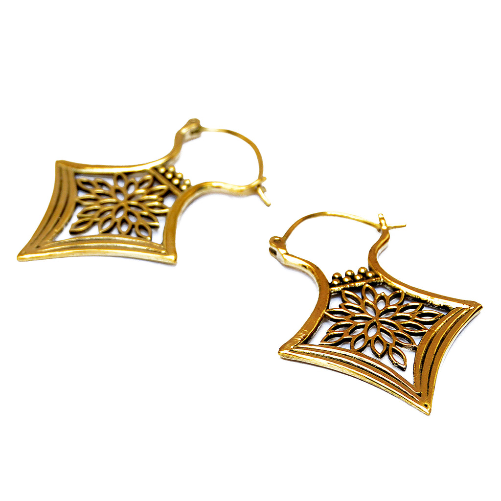 Brass floral earrings