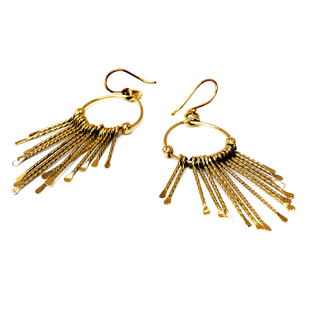 Brass long earrings