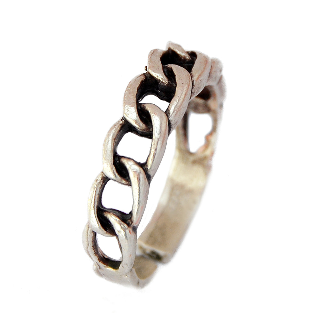 Adjustable silver chain band ring