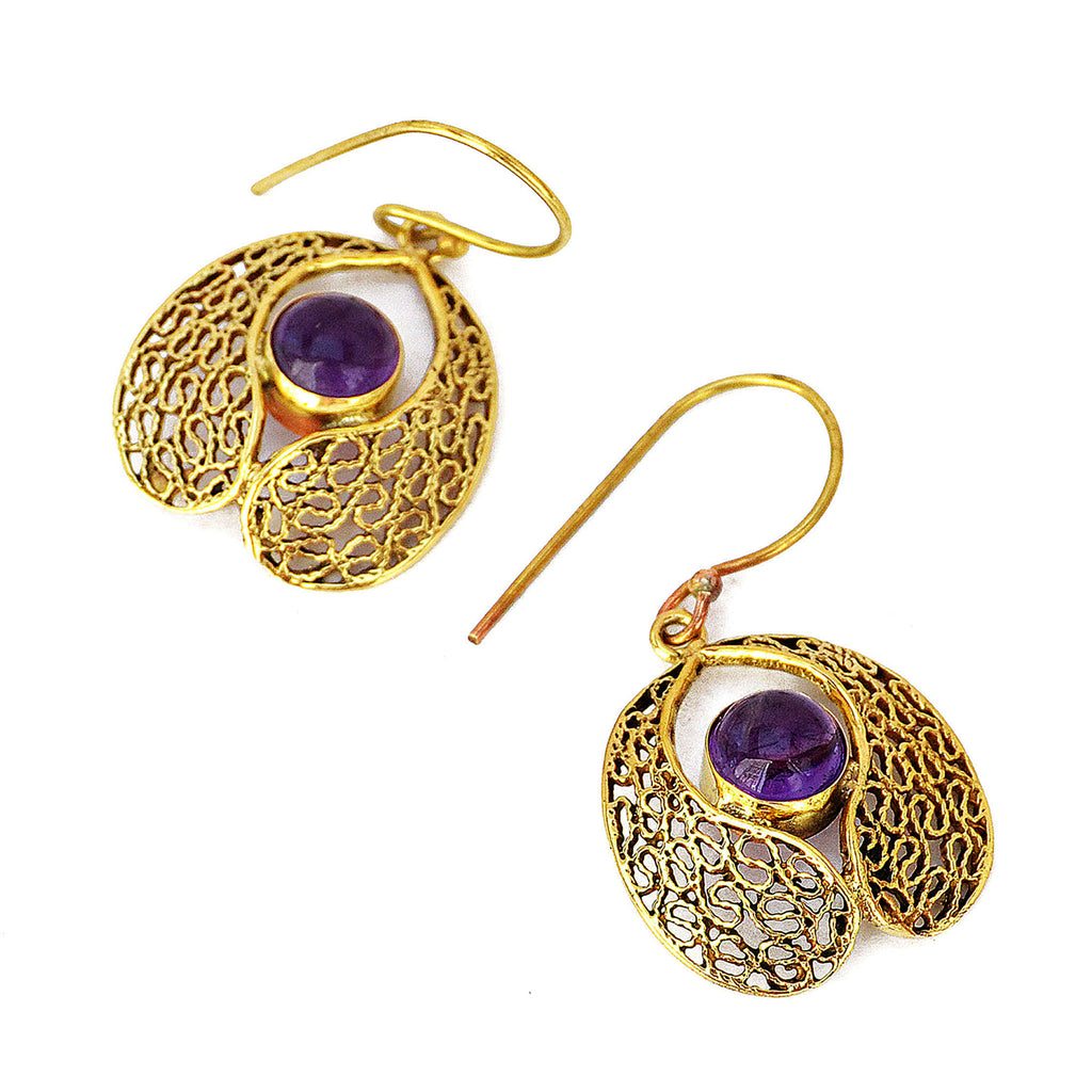 Brass earings with amethyst gemstone