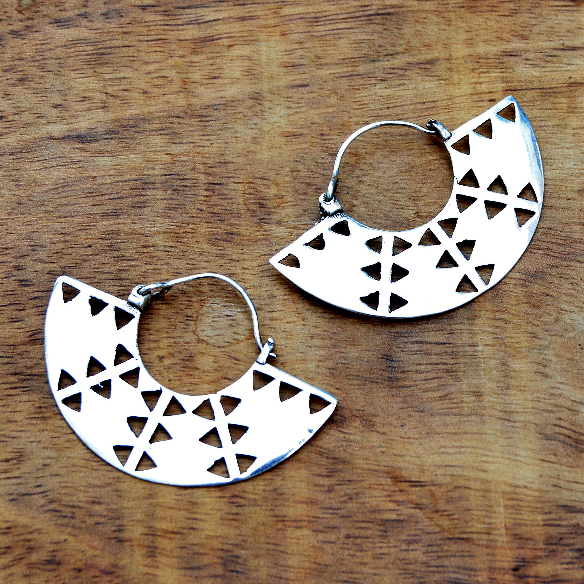 Silver tribal aztec fan earrings