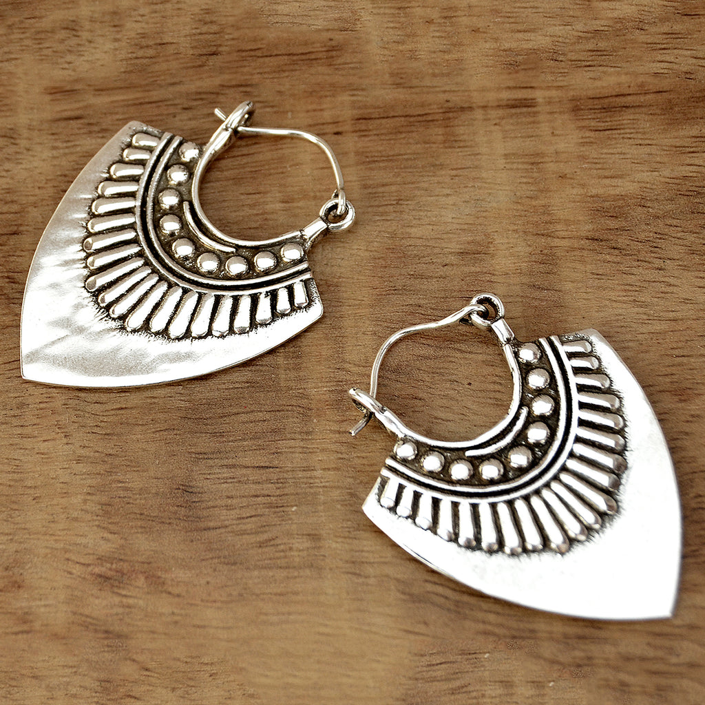 Aztec dangle silver earrings