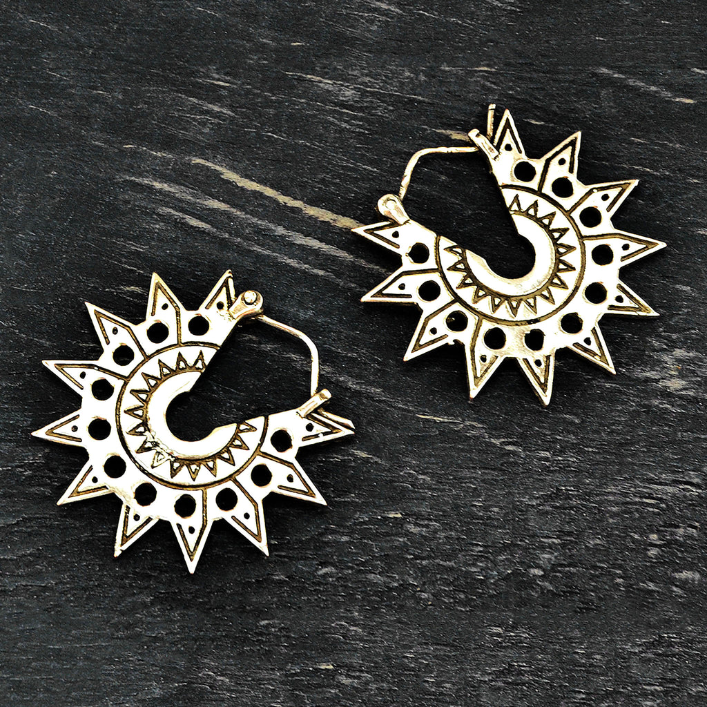 Silver tribal aztec sun earrings
