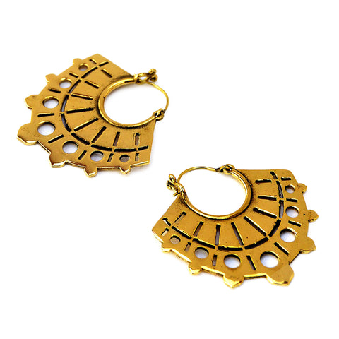Brass aztec tribal earrings