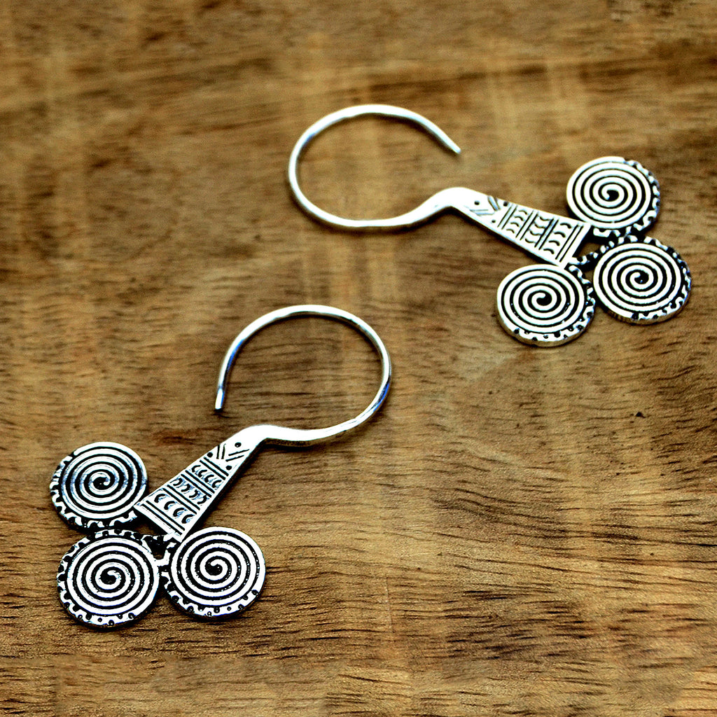 Silver aztec tribal earrings