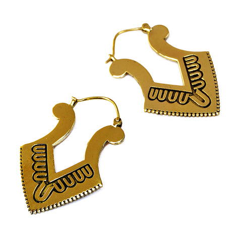 Brass geometric earrings with aztec design