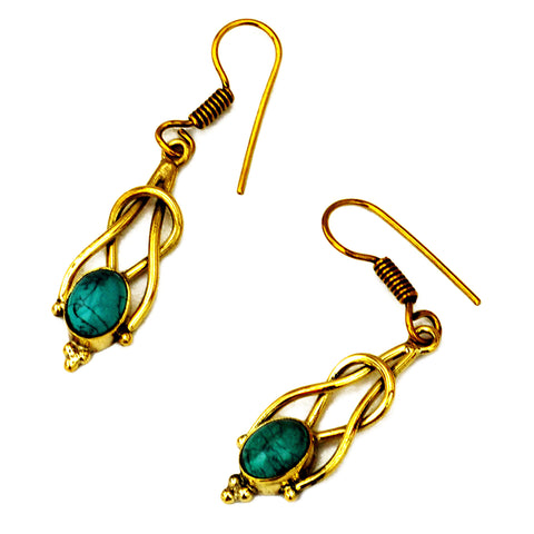 Brass dangle earrings with turquoise gemstone