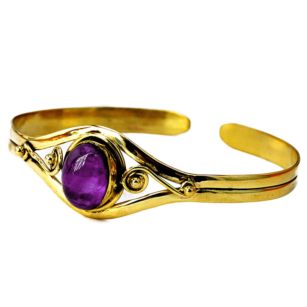 Brass cuff bracelet with amethyst gemstone