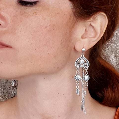 Boho silver long earrings